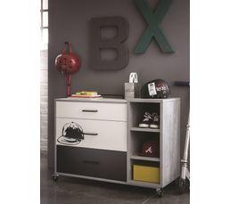 Commode 3 tiroirs SKATE blanc et gris effet béton
