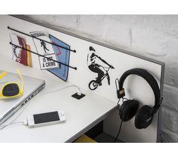 Bureau connectique USB SKATE Blanc, noir et béton