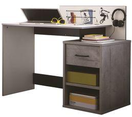 Bureaux - Bureau connectique USB SKATE Blanc, noir et béton