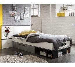 Lits - Lit avec rangements réversible blanc et gris SKATE 90X200 cm
