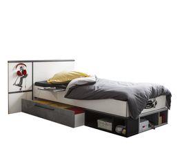 Lit avec rangements r�versible blanc et gris SKATE 90X200 cm