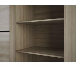 Armoire 2 portes coulissantes MANHATTAN imitation chêne et liseré noir
