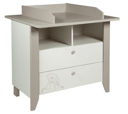 Commode table � langer b�b� OURSON Blanc et marron clair