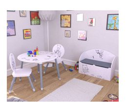 coffre a jouets bear blanc et gris motif ours coffres jouets but. Black Bedroom Furniture Sets. Home Design Ideas