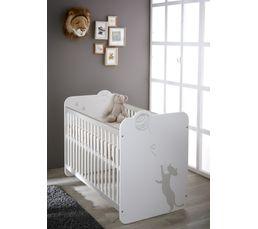Lit b b barrreaux 60 x 120 cm kitty blanc lits but for Lit bebe petit espace