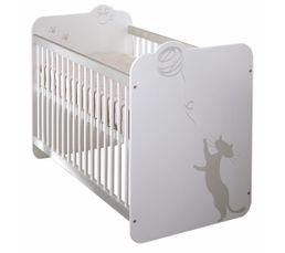 Lits - Lit bébé à barrreaux 60 x 120 cm KITTY Blanc