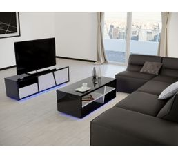 meuble tv led tokyo noir et blanc meubles tv but. Black Bedroom Furniture Sets. Home Design Ideas