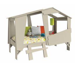 lit cabane 90 x 200 cm beige - Lit Gigogne But