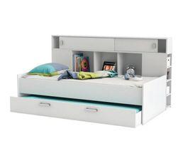 Lit banquette + tiroir lit, avec rangements SHERWOOD Blanc