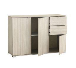 Rangement 3 portes 2 tiroirs PERFECT imitation chêne