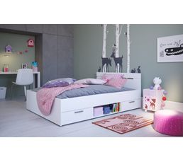 lit 140x190 cm avec rangements blanc michigan lits but. Black Bedroom Furniture Sets. Home Design Ideas