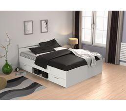 Lits - Lit 140x200 cm avec rangements Blanc MICHIGAN