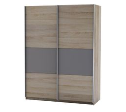 Armoire 2 p coulissantes MAYA imitation ch�ne griff�