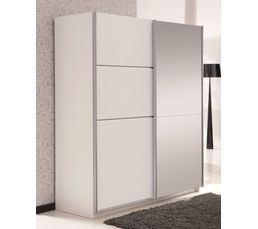 armoire 2 portes coulissantes glassy blanc avec 1 miroir armoires but. Black Bedroom Furniture Sets. Home Design Ideas