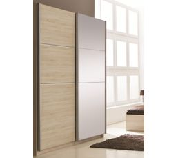 Armoire 2 portes coulissantes glassy ch ne bross avec 1 for Armoire porte coulissante profondeur 50