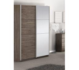Armoires - Armoire 2 portes coulissantes GLASSY imitation chêne grisé