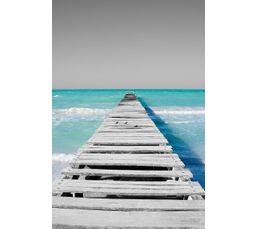 toile 60x90 plage ponton bleu gris toiles but. Black Bedroom Furniture Sets. Home Design Ideas