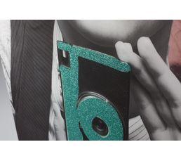 Toile paillette 50X70 SMOOTHIE Noir/Vert/Rose
