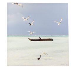Toiles - Toile 70X70 BARQUE Blanc/Bleu