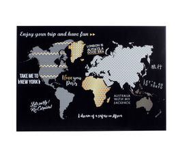 Laminage toile 50x70 cm GOLD MAPPEMONDE Noir/or