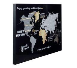 Laminage toile 50x70 cm GOLD MAPPEMONDE Noir/or