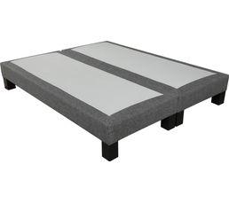Sommier tissu gris 2x80x200 cm SIGNATURE CHARME ressorts