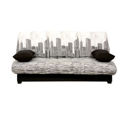 housse clic clac 130 cm tissu manhattan uni noir housses. Black Bedroom Furniture Sets. Home Design Ideas