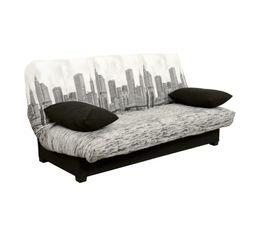 Housse clic-clac 130 cm  Tissu Manhattan/uni Noir