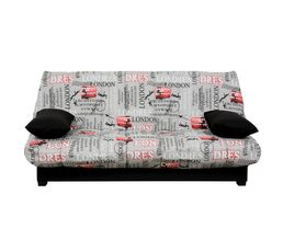 housse clic clac 140 cm tissu london 2 uni noir housses but. Black Bedroom Furniture Sets. Home Design Ideas