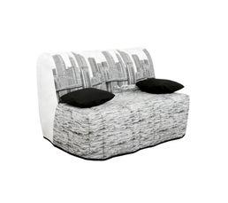 housse bz 140 cm tissu manhattan uni noir. Black Bedroom Furniture Sets. Home Design Ideas
