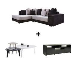 Canap� angle gauche TEMPO + Table basse STONE + Meuble TV LOCA