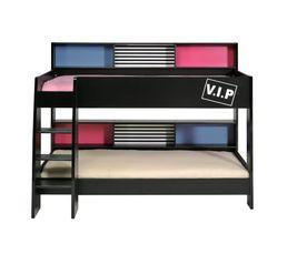 lit superpos 2x90x200 cm cleo noir lits superpos s et mezzanines but. Black Bedroom Furniture Sets. Home Design Ideas