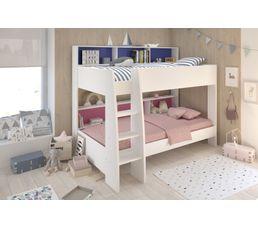 lit superpos 2x90x200 cm cleo blanc lits superpos s et. Black Bedroom Furniture Sets. Home Design Ideas