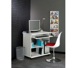 Console informatique compact 2 blanc bureaux but for Console bureau informatique