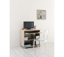 Console informatique compact 2 imitation ch ne bureaux but for Console bureau informatique
