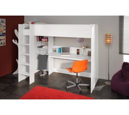 lit mezzanine 90x200 cm swan blanc lits superpos s et. Black Bedroom Furniture Sets. Home Design Ideas