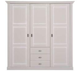 Armoire 3 portes 3 tiroirs KHATE gris