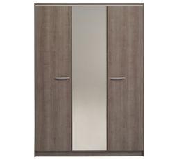 Armoire 3 portes evo 2 imitation noyer silver armoires but for Chambre a coucher sans armoire