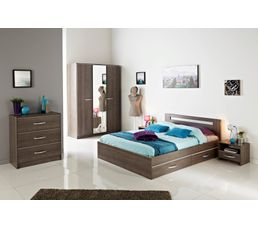lit 160 x 200 cm evo 2 imitation noyer lits but. Black Bedroom Furniture Sets. Home Design Ideas