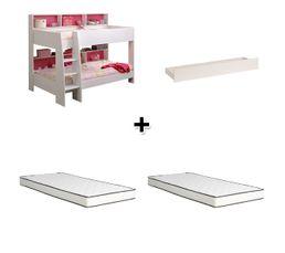 - Lit superposé + tiroir de rangement CLEO blanc + 2 matelas 90x200 cm HORA