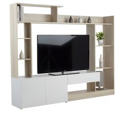 mur tv giant acacia blanc livings but. Black Bedroom Furniture Sets. Home Design Ideas