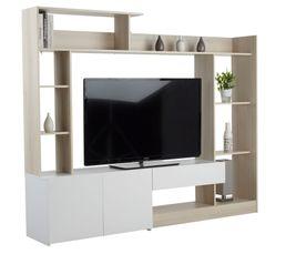 Meubles Tv - Mur TV GIANT Acacia/Blanc