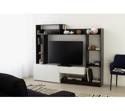 mur tv giant caf et blanc meubles tv but. Black Bedroom Furniture Sets. Home Design Ideas