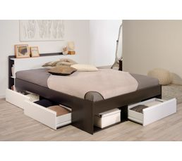 lit 140x190 200 cm puzzle blanc et choco lits but. Black Bedroom Furniture Sets. Home Design Ideas