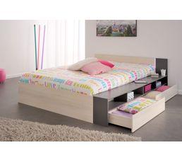 lit 140x190 200 cm led read acacia clair et gris lits but. Black Bedroom Furniture Sets. Home Design Ideas