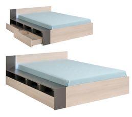 Lit 140x190/200 cm + led READ acacia clair et gris
