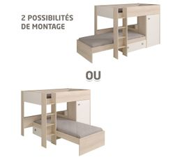 Lits superposés modulable 2x90x200 cm Acacia & blanc ASTUCIO