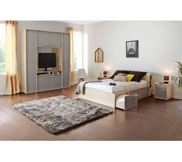 lit 140x190 cm avec 3 tiroirs connect imitation h tre et gris lits but. Black Bedroom Furniture Sets. Home Design Ideas