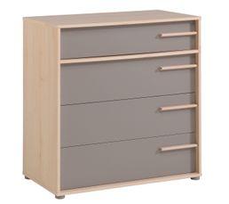 But - Commode 4 tiroirs connect imitation hêtre et gris