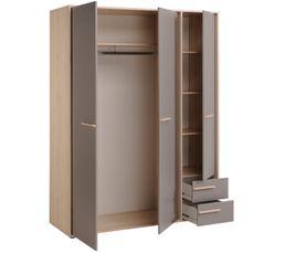 Armoire 3 portes 2 tiroirs CONNECT imitation hêtre et gris